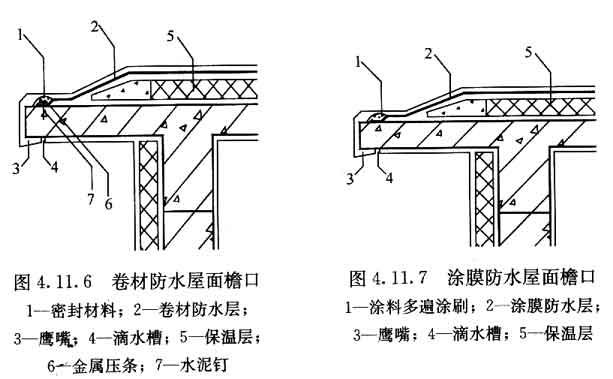 1 屋面细部构造应包括檐口,檐沟和天沟,女儿墙和山墙,水落口,变形缝