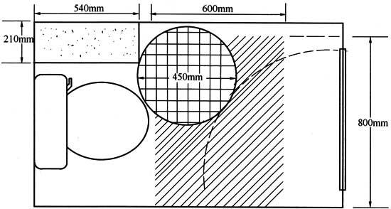 厕所门人体_4.5 内开门坐便器厕所间人体活动空间图